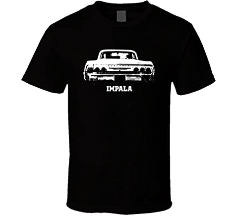 CarGeekTees.com 1964 Impala Grill View with Model Dark Color T Shirt 2XL Black