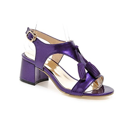 Women's Purple Open Toe Sandals Solid WeenFashion Buckle Heels Kitten 7dqw6WxvP