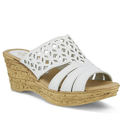 Spring Step Women's Vino Wedge Sandal, White, 39 EU/8.5 M (Vino Footwear)