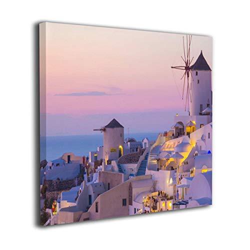 MoulMa Canvas Oia Sunset, Santorini Island, Greece Picture Paintings Wall Art Prints Modern Home Decoration Giclee Artwork-Wood Frame Gallery - Greece Santorini Art Framed Oia