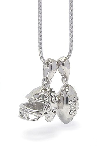 Lola Bella Gifts Crystal Football Lover Pendant Necklace with Gift Box