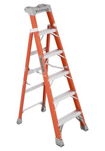 Louisville Ladder Cross-Step FXS1506 Fiberglass 300 lb Duty Rating Type IA Step/Shelf Ladder, 6', Orange (2 Cross Step Commercial)