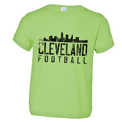 PleaseMeTees Toddler Cleveland Football Distresed Browns Skyline HQ Tee-Lime-2