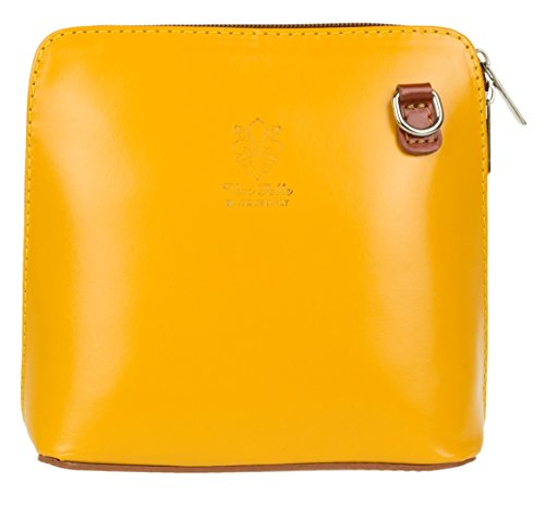 Girly Handbags - Bolso cruzados de Piel para mujer - Yellow Tan