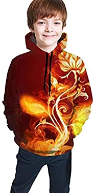 Hxjiuli Youth Hooded Sweater Flaming Rose Autumn 3D Print Sweater Crewneck for Boys Girls