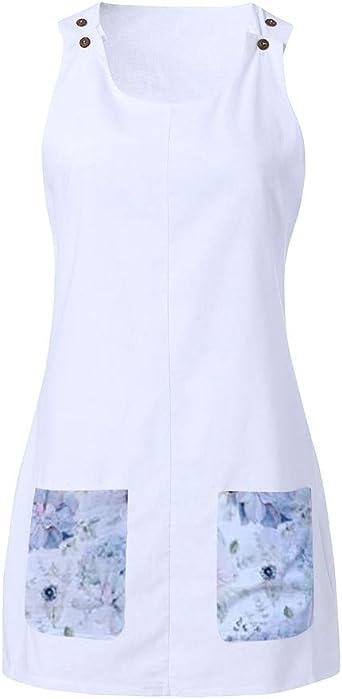 PinkLu sukienka damska, letnia sukienka, bez rękawÓw, brudny liść, drukowana sukienka letnia, sukienka letnia, biała, żÓłta, rÓżowa, liliowa, swobodna spÓdnica mini: Odzi