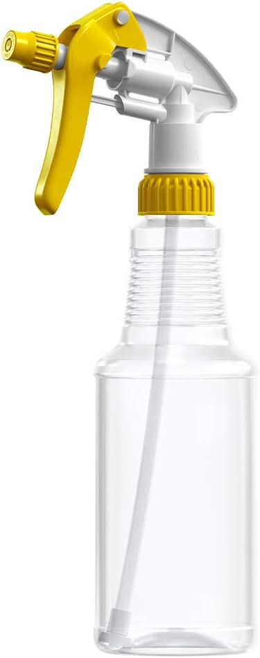 BAR5F Empty Plastic Spray Bottles 16 oz, BPA-Free Food Grade, Crystal Clear PETE1, Yellow/White M-Series Fully Adjustable Sprayer (Pack of 1)