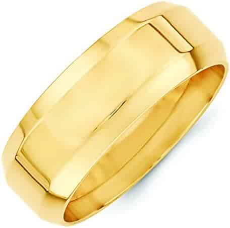 14K Yellow Gold 8mm High Polish Finish Beveled Edge Comfort Fit Wedding Band
