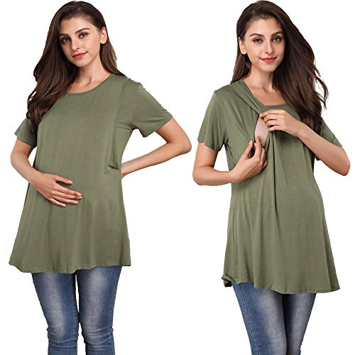 Giorzio Women's Short Sleeve Maternity Nursing Tee Shirt Crew Neck Flattering Sides Double Layer Breastfeeding Top,Green S