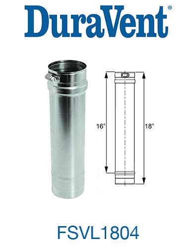 M&G Duravent FSVL1804 Vent Pipe Stainless Steel Cat Iii 4 In. X 18 In.