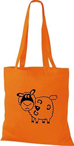 Shirtstown Stoffbeutel Tiere Schaf Schäfchen Orange