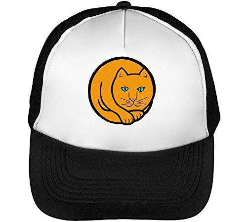 Orange Circle Cat Gorras Hombre Snapback Beisbol Negro Blanco