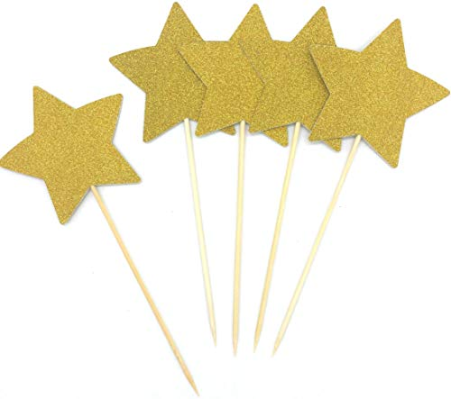 (Large Double Sided Gold Glitter Stars Cake Toppers Gold Stars Twinkle Twinkle Little Star Decorations,per Pack of)