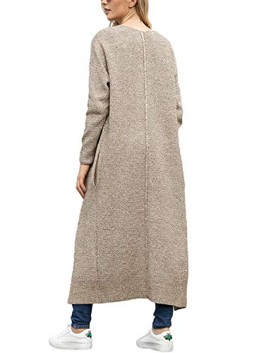 Lookbook Store Women's Casual Open Front Knit Outerwear Pocket Long Cardigan Sweater Khaki Size L by Lookbook Store (Image #1)