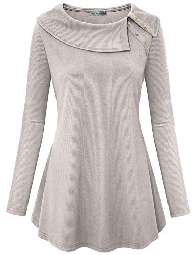 Miss Fortune Womens Long Sleeve Tunic Tops for Leggings, Ladies Shirts and Blouses for Work Fashion 2018 Tops Fare Fit Flowing Knit Button Embellished Tunic Slimming,Light Grey S
