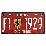 "Ferrari F1-1929 Vintage Auto License Plate, Embossed Tag Size 6"" X 12"""