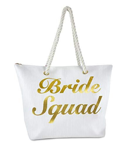 BG-717-BS09 Beach Bag - BRIDE SQUAD (White)