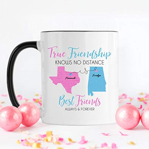 Long Distance, Friendship Mug, Best Friend Moving, Long Distance Mug, Best Friend Mug, Coffee Mug, Best Friend, Long Distance Gift, Unique Gift Novelty Ceramic Coffee Mug Tea Cup - 11oz White