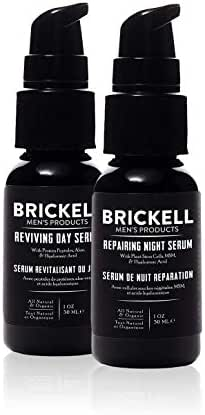 Brickell Men's Day and Night Serum Routine, All Natural and Organic, Scented