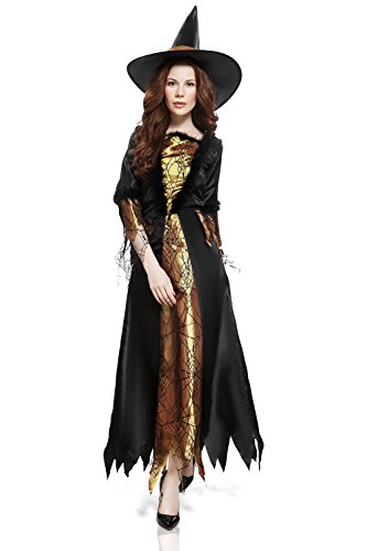 Adult Women Wicked Witch Costume Sorceress Halloween Cosplay Role Play Dress Up (Small/Medium, Black, Gold)