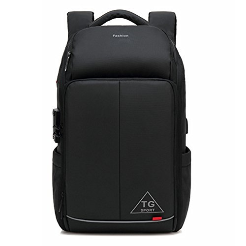 Lightweight Capacity theft Bag Hole Popular Earphone Business Port Backpack Usb Commute Trip Multifunction Anti Design Men's color Mount Commuter Black Large Black SAqwn76v