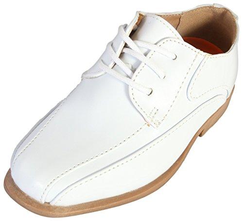 Jodano Collection Boys Memory Foam Lace up Dress Shoe, White, 13 M US Little Kid' -