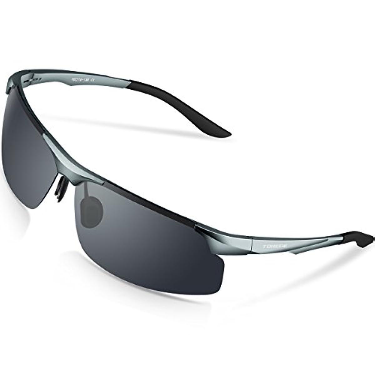 [해외] TOREGE 편광 렌즈 스포츠 썬글라스 초경량 알루미늄・마그네슘 합성피혁금 UV400 자외선 컷 스포츠 썬글라스/ 자전거/낚시/야구/테니스/스키/런닝/골프/드라이기이브 M291