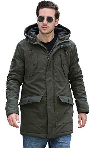 YsCube Mens Parka Jackets for Men Winter Coats for Men Down Parka Mens Jacket Olive Outerwear Waterproof Outdoor Practical Wear Resistance Casual Parka-S