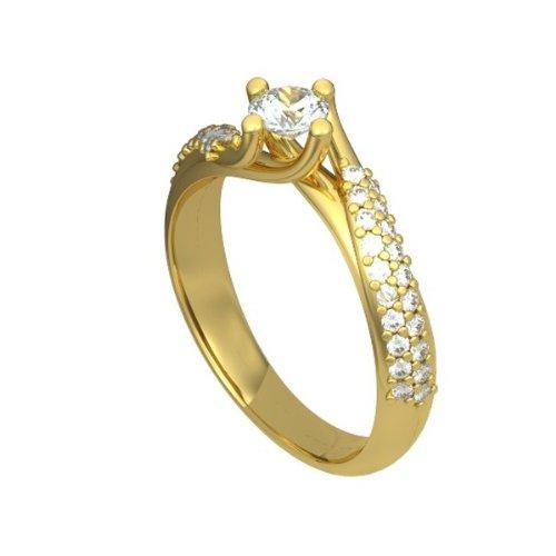 0.80ct F/VS1 Bague de fiançailles solitaire en diamant pour femme coupe Rond brillant diamants en 18ct or jaune
