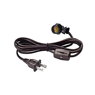 Creative Hobbies Clip-in Lamp Cord for Salt Lamps, Christmas Villages, Pumpkins & More - #708N2, 6 Foot Brown with On/off Switch