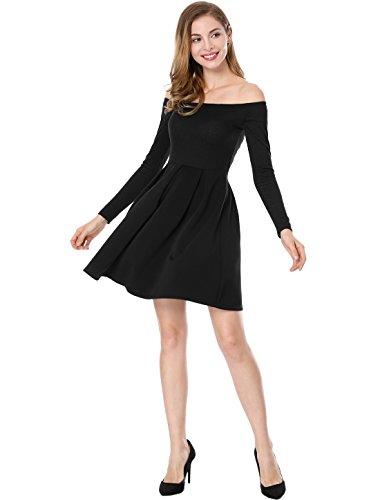 Allegra K Women's Off The Shoulder Pleated Panel A-line Dress XL Black (Off Shoulder Sparkle)