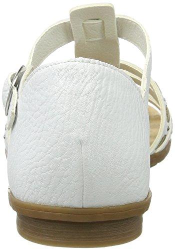 Rieker 64274, Sandalias con Cuña para Mujer Blanco (Weiss/grey / 80)