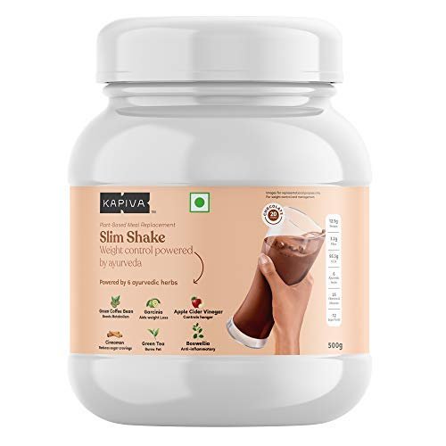 Kapiva Slim Shake - New & Improved - India's First Ever Complete Meal Replacement Powered With 6 Ayurvedic Herbs - Helps in Weight Management - 500 Grams (Chocolate, 20 Servings)