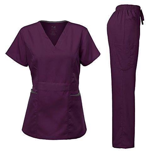 Medical Uniform Women's Scrubs Set Stretch Contrast pocket Eggplant S