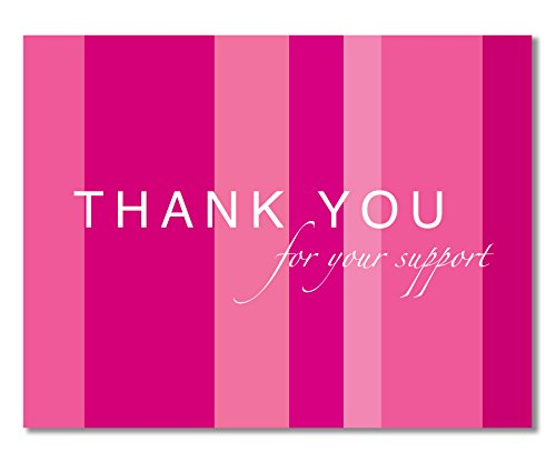 - 10 Breast Cancer Support, Pink Ribbon Thank You Cards, Recycled - For Breast Cancer Awareness, Charity Events, Runs, Walks - Hot Pink - Jenna by Two Poodle Press