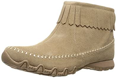 Skechers Women's Bikers-Indian Summer Ankle Bootie, Taupe, 6.5 M US