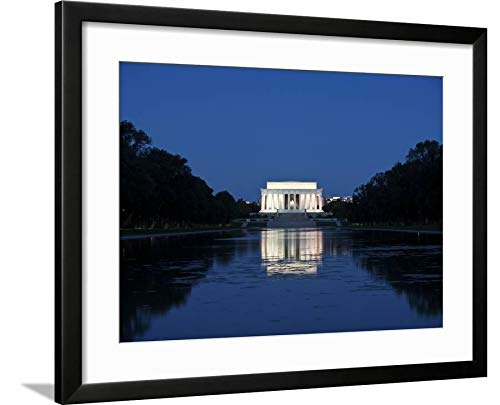 ArtEdge Lincoln Memorial Reflection in Pool, Washinton D.C, USA by Stocktrek Images, Wall Art Framed Print, 18x24, Black Soft White Mat