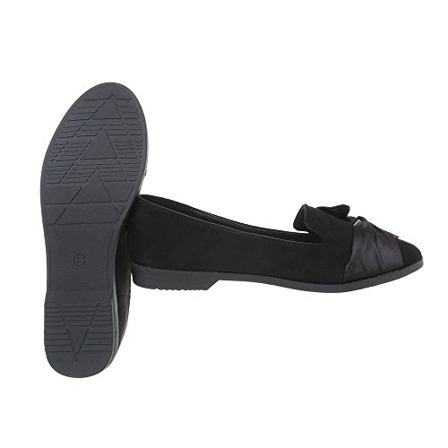 Mocassins Slippers Chaussures Bloc Noir Femme design Ital q5IXxTwtY