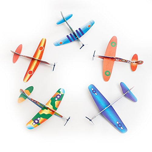 Fun Central AU584 12 pieces, 8 Inch Novelty Glider Planes, Toy Glider Planes, Assorted Glider Plane, Glider Plane Toy Pack for Kids -