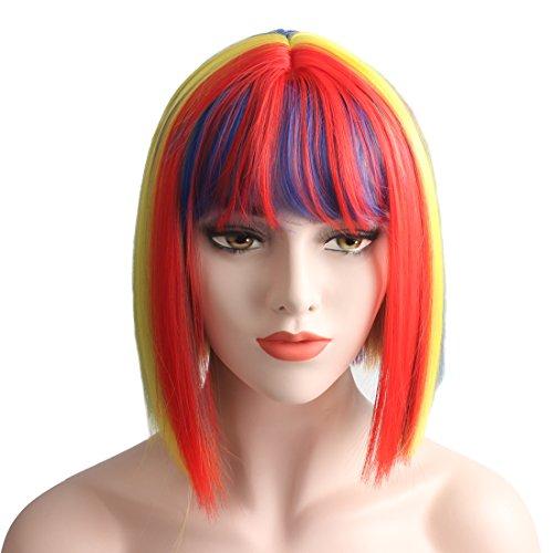 WeKen Women's Cosplay Wig Full Bangs Rainbow Hair Synthetic Short Bob]()