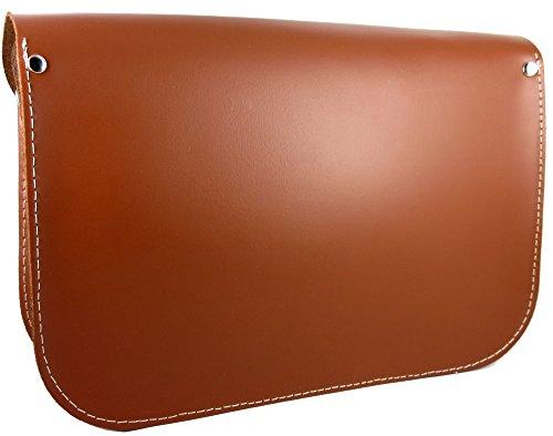 Marrón Bolso Satchel hombro mujer Bandolera 24x17x10 España para de Hecho piel en Estilo 100 Disponible colores Cm en Compacto grqgZxOn