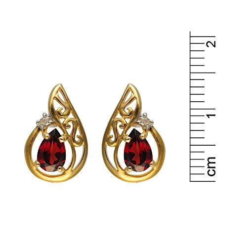 Parure collier et boucles d'oreilles - 181E0646-05-181P0094-16 - Femme - Or Jaune 375/1000 (9 Cts) 2.772 Gr - Grenat 0.006 Cts