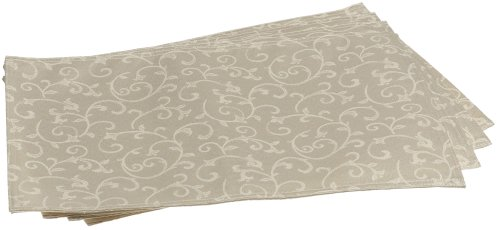 "Lenox Opal Innocence Set of 4 Placemats, Ivory - Crafted of 58% Cotton/ 42% Polyester Set includes four 13""x19"" Placemats Solid with all over vine motif - placemats, kitchen-dining-room-table-linens, kitchen-dining-room - 41DWRTCQSML -"