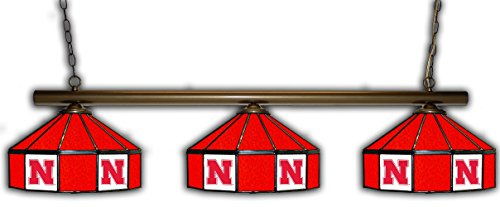 Imperial Nebraska Pub Light w/Cornhuskers Logo - 3 Shade Stained Glass