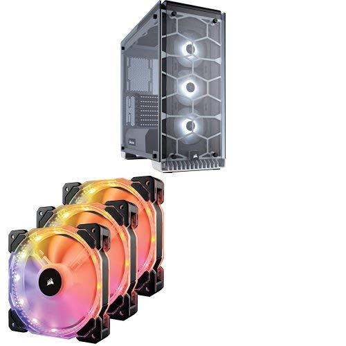 Corsair Crystal Series 570X RGB - Tempered Glass Premium ATX Mid-Tower Case White CC-9011110-WW and Corsair CO-9050067-WW  HD Series, HD120 RGB LED, 120mm High Performance RGB LED PWM three fans with controller