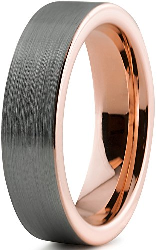 Charming Jewelers Tungsten Wedding Band Ring 6mm for Men Women 18k Rose Gold Grey Flat Cut Brushed Size 8.5 ()