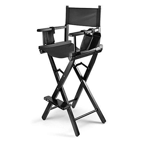 Flexzion Makeup Chair Artist Directors Actor Wood Stool Professional Light Weight Bar Height Seat Foldable with Storage Side Bags and Food Rest Home Furniture in Black (Chair Directors Bar)
