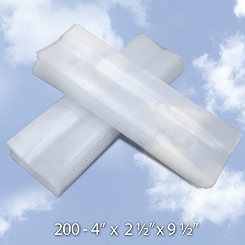 Wholesale Treat Bags (4 x 2-1/2x 9-1/2 Clear Side Gusset Food Packaging Bags with Twist Ties (200 Count) - 4