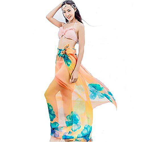 Herebuy8 Womens Sexy Beach Chiffon Sarongs Hawaiian Swimsuit Cover-up Wraps Hibiscus Print Plus Size Swim Bikini Scarf (Orange)