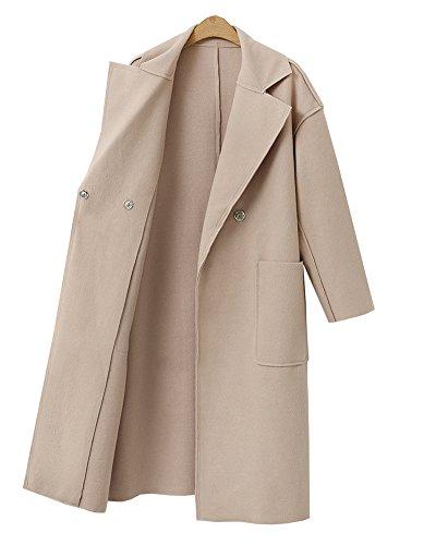 Color Chaqueta Outwear Lana De Sólido Mujer Diseño Mezcla Larga Beige Gabardina Elegante De Abrigo Simple fdwRqx